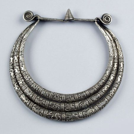 China | Neck torque with animal motifs from the Miao people of Rongjiang, Guizhou | Silver | 20th century