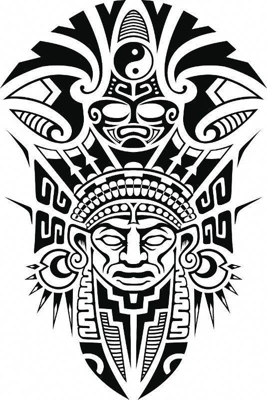Ancient Tribal Mask Vector Illustration Hawaiiantattoos Aztec