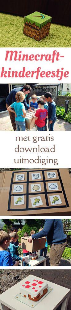 Minecraft-kinderfeestje; met leuke uitnodigingen (gratis download!), een echte Minecraft-taart en wat er in de goodie bags zat. van: www.mizflurry.nl