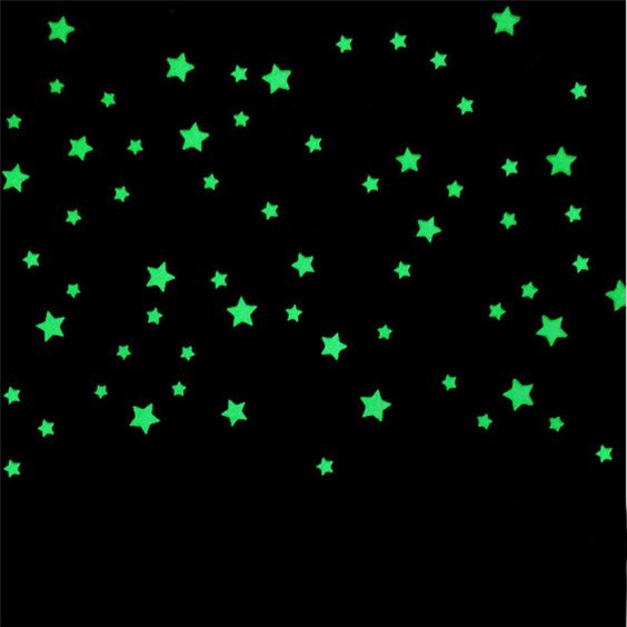 oujing 100PC wall stickers for kids rooms  Fluorescent Glow In The Dark Stars Wall Sticker DIY poster