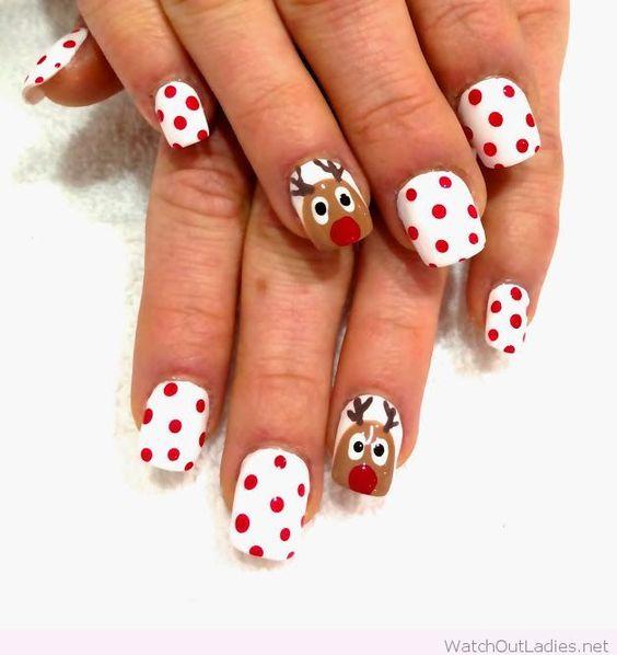 Christmas nails with polka dots