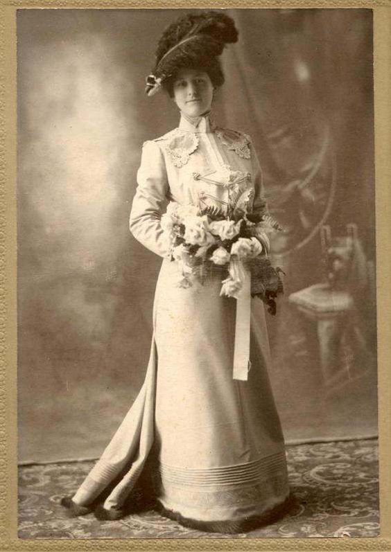 Antique Wedding Cabinet photo woman in feather hat with flowers