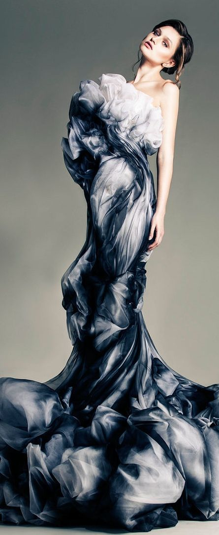 like being wrapped in a thunderstorm...Jean Louis Sabaji Couture S/S 2013