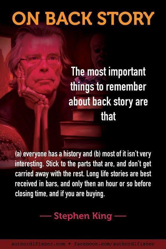 Stephen King on writing back story. |writing | writing tips | writing advice #writing #writingtips #amwriting
