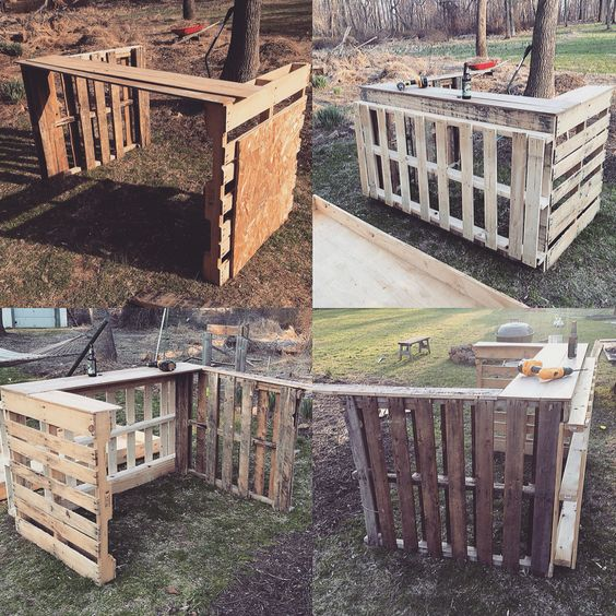 Tiki bars diy projects and pallets on pinterest for How to make a tiki bar with pallets