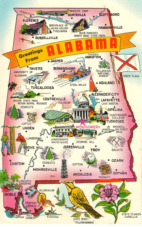 Greetings From Alabama Vintage Postcard State Maps – Alabama Tourist Attractions Map