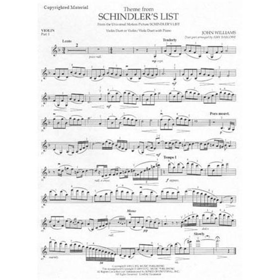 Schindlers List Violin Sheet Music