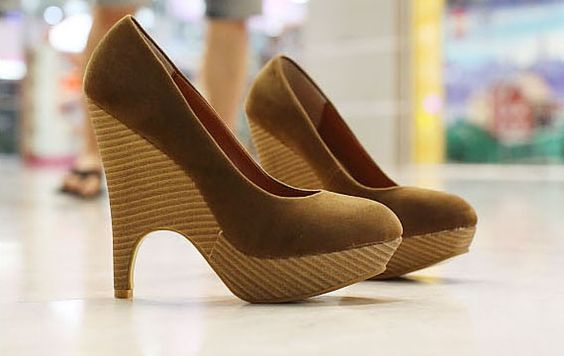 Stylish Office Lady Unusual High Heels #Platform Round Toe Comfy #Pumps #Shoes
