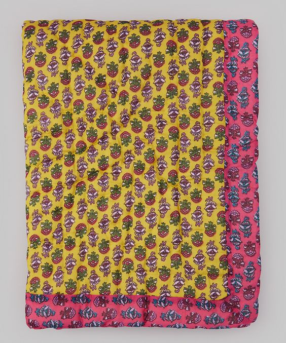 Yo Baby 30 x 40 Yellow & Pink Floral Quilt | zulily