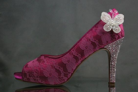 Wedding Shoes  Fuschia Peep Toe Wedding by DesignYourPedestal, $323.00