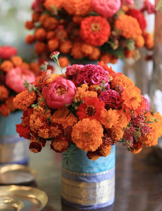 Marigold, peony floral centerpieces | Wedding Style Inspiration by Marigold Paper