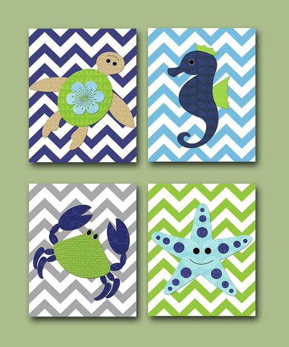 Sea Crab Baby Boy Nursery art print Children Wall Art Baby Room Decor Kids Print set of 4 8 x 10 sea crab turtle blue green via Etsy