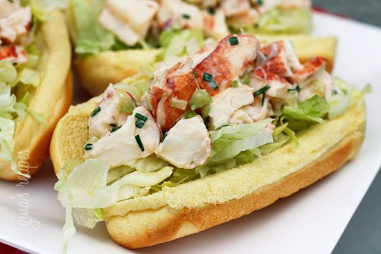 Lobster Rolls - these scream summer to me! Great for a special lunch. Chunks of fresh chilled lobster tossed with celery, shallots, chives, light mayonnaise and a little lemon zest served on a hot dog bun. 6 points+ on Weight Watchers.