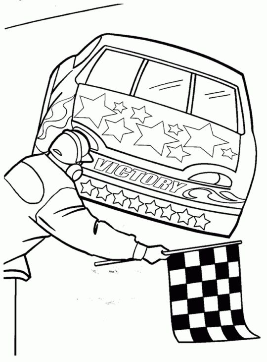 NASCAR Car Finish At 1st Position Coloring Page