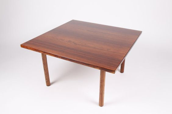 Danish vintage rosewood coffee table, design by Hans J Wegner, made in Denmark in the 1960s, danish furniture maker, square coffee table