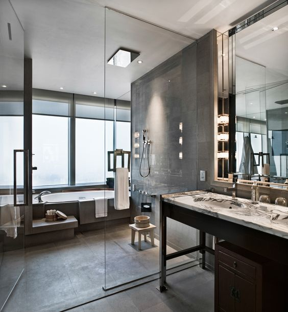 this is a very cool and unique bathroom layout dig the
