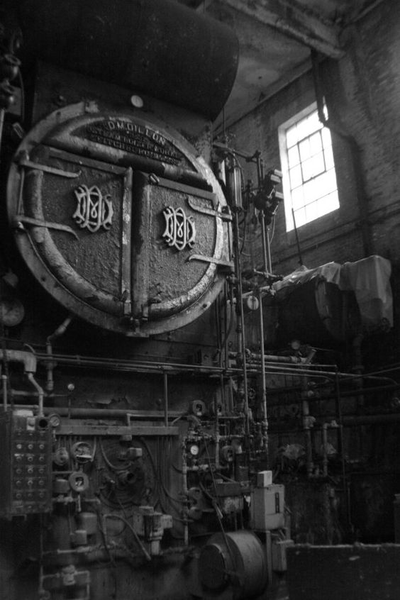 Old Boiler Room Vermont Industrial Black And White
