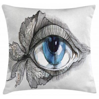 East Urban Home Ambesonne Eye Throw Pillow Cushion Cover Abstract Human Eye With Butterfly Eyelashes Painting Square Pillow Cover Square Pillow Pillow Covers