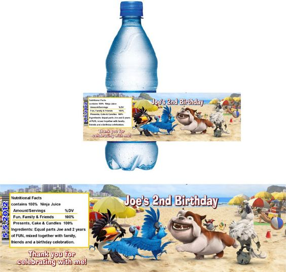 RIO Bottle Wrapper Birthday Party Favors or by designsbyfun, $9.50