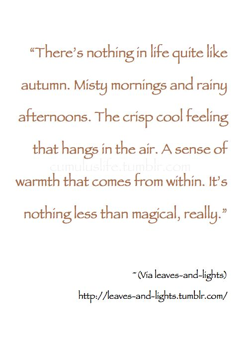 """~Autumn~ """"There's nothing in life quite like autumn. Misty mornings and rainy afternoons. The crisp cool feeling that hangs in the air. A sense of warmth that comes from within. It's nothing less than magical, really."""" ~ (Via leaves-and-lights)"""