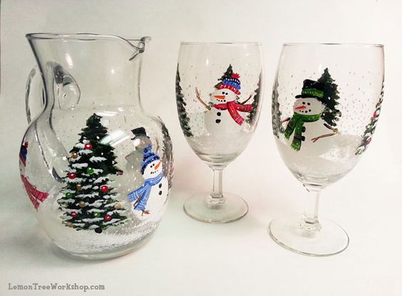 Winter Wonderland Christmas Holiday Hand Painted Glass Pitcher Set with 4 Goblets