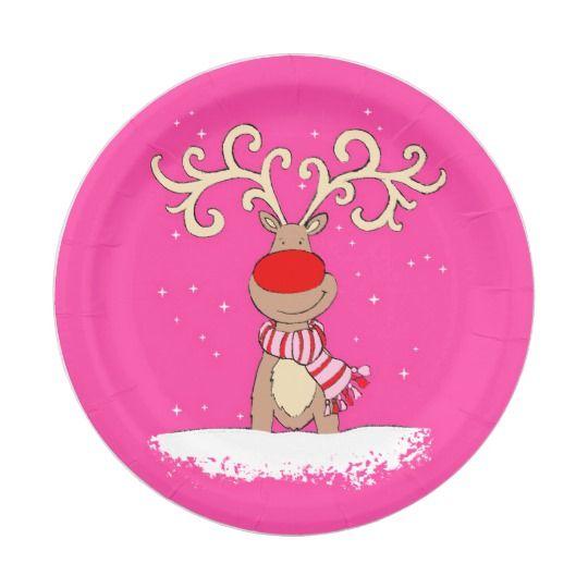 Christmas Reindeer Big Antler Pink Paper Plate Zazzle Com Christmas Paper Plates Pink Paper Pink Christmas