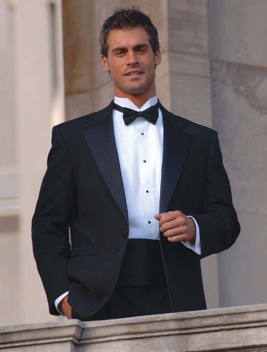 black tuxedo jacket black bow tie white tuxedo shirt