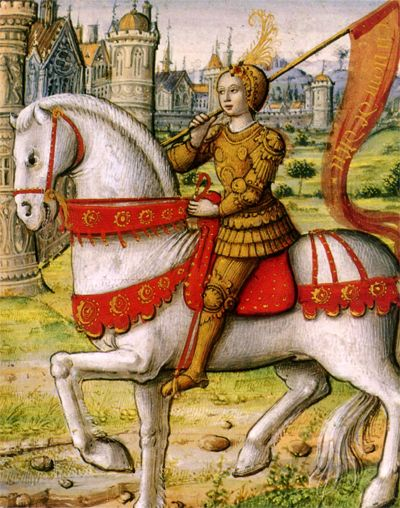 Jeanne d'Arc depicted on horseback in an illustration from Vie Des Femmes Celebres, a c. 1505 manuscript via Musée Dobree, Nantes, Pays de la Loire, France. Public