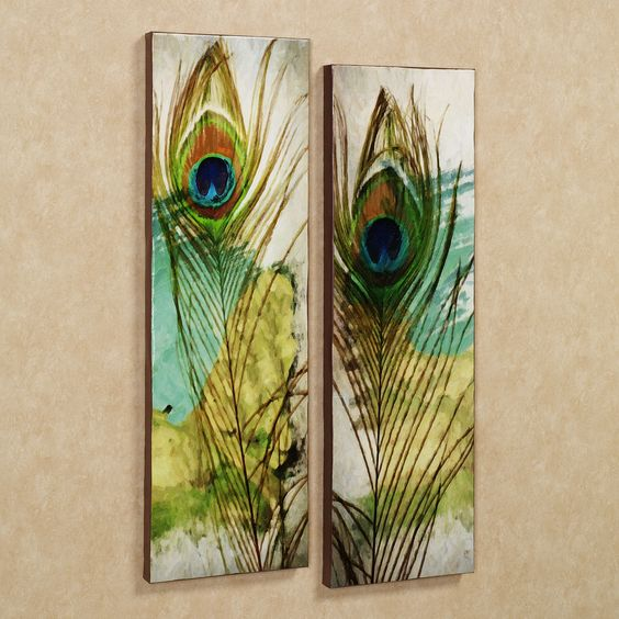 Peacock Rug for Sale  Home Peacock Feather Canvas Wall Art Set Multi Warm Set of Two