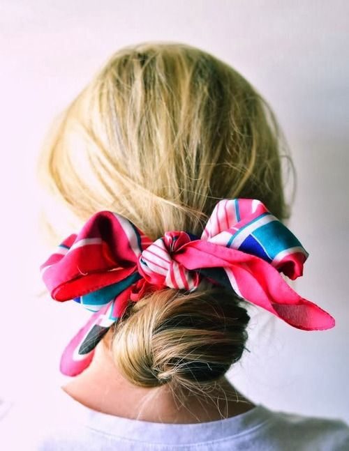 Scarf around the bun!: