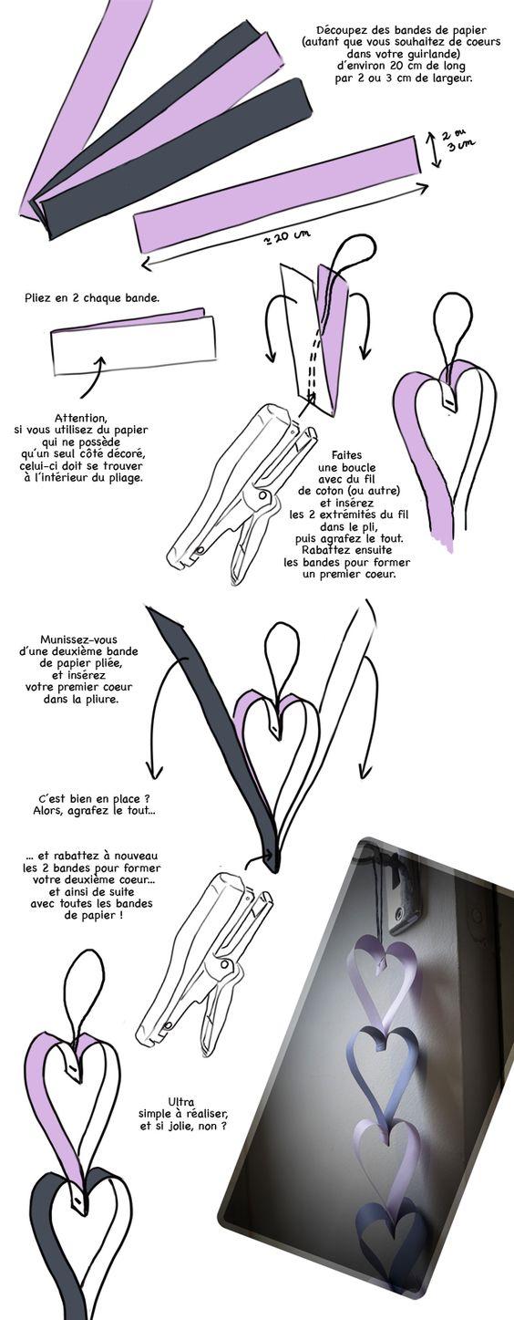 DIY mariage : fabriquer une guirlande coeur en papier - Loisirs créatifs