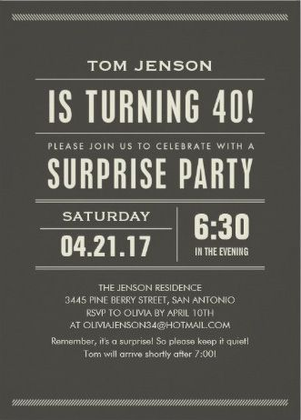 Elegant classic minimalist Men's Birthday Party Invitations. Easy ...