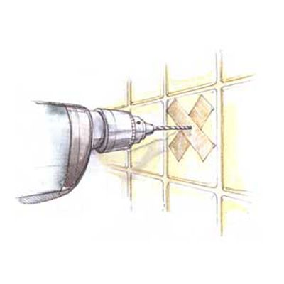 Go get a drywall screw and a hammer. Place the tip of the screw exactly where you want to drill, then tap it ever so gently with the hammer to pierce the glaze and create a little divot. Now load a masonry bit into your drill driver and use the divot to hold it in place as you start drilling. No fissures, no scratches, no fuss.