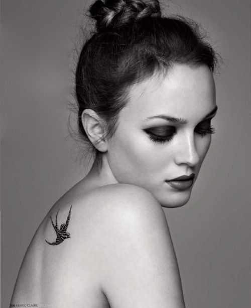 Leighton Meester in Marie Clarie UK, December 2010. Love her make-up and the (probably fake) swallow tattoo.