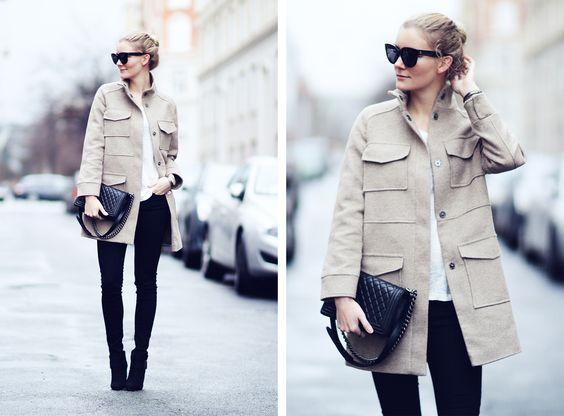 Wool coat & skinny jeans