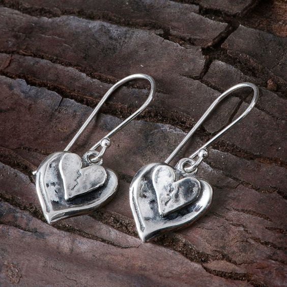 Handmade 925 Sterling Silver heart dangle by SteraJewelry on Etsy
