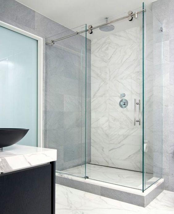 glass shower barn door