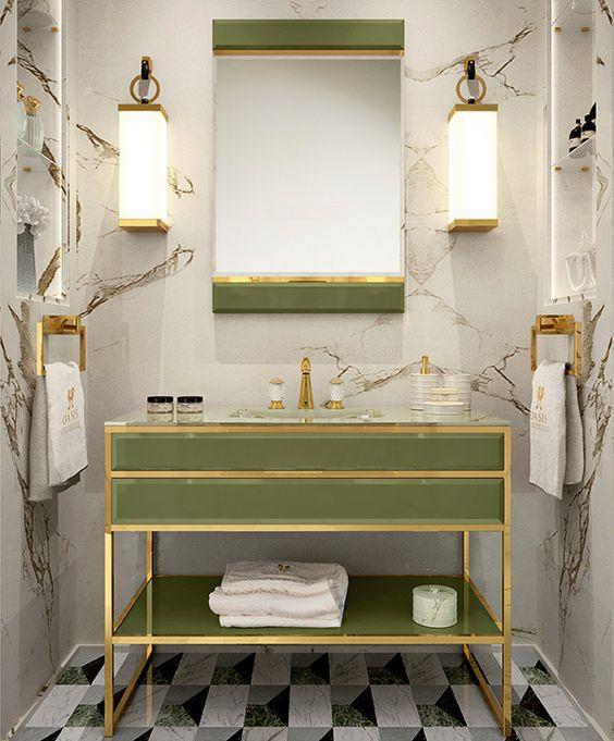 Pantone Greenery in bathroom