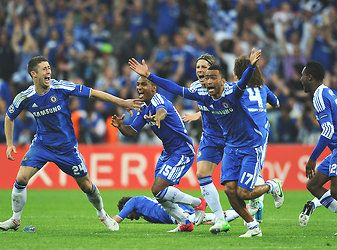 Chelsea celebrated after Didier Drogba scored the winning penalty.