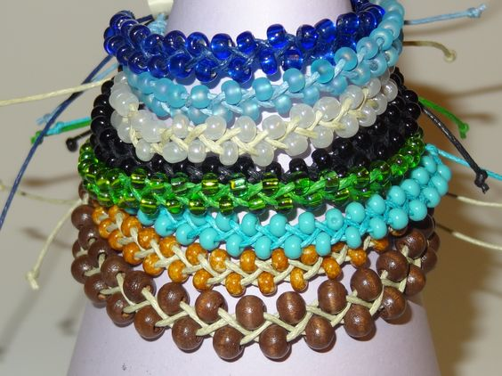 """Banzai Beaded monochromatic beads & waxed cord.  Unisex & Adjustable from 4""""-9"""""""