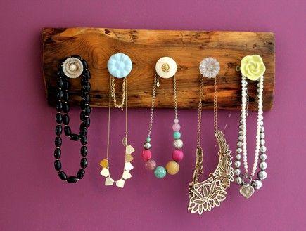 Diy wood hanger with vintage knobs