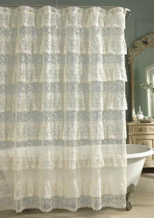 Priscilla Lace Ruffled Shower Curtain - Ivory Comforter Bedspreads ...