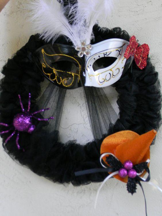 Twofaced Masquerade Halloween Wreath by MamawsJardin on Etsy, $65.00