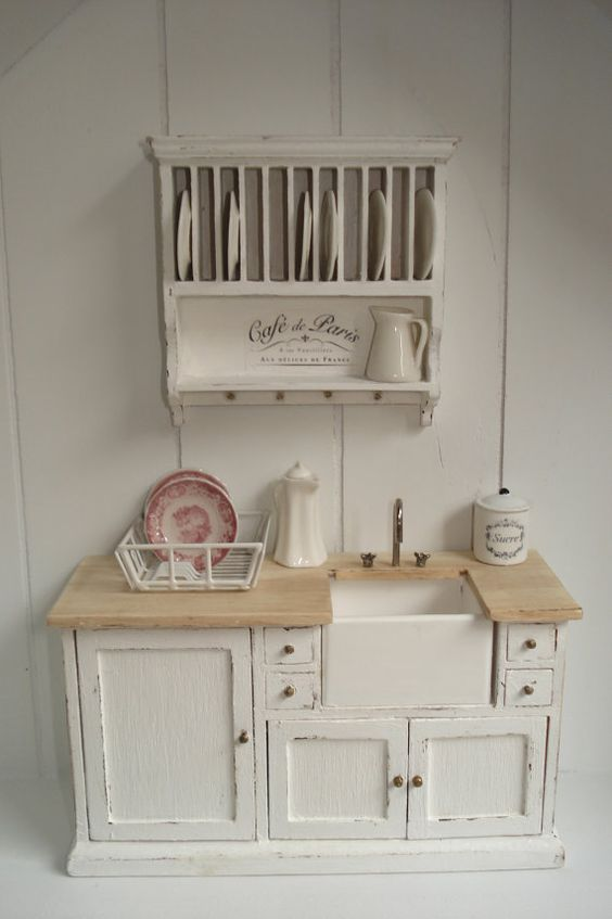 Miniature 1/12 scale Kitchen #Shabby Chic #Miniatures: