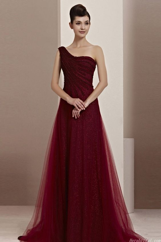 One Shoulder Wine Evening Gowns Formal Night Dress for Women | MOB ...