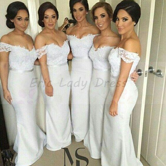Long Mermaid Bridesmaid Dresses White V Neck Bridesmaid Dress