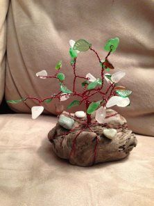 Green & white beach glass tree on driftwood (2012)