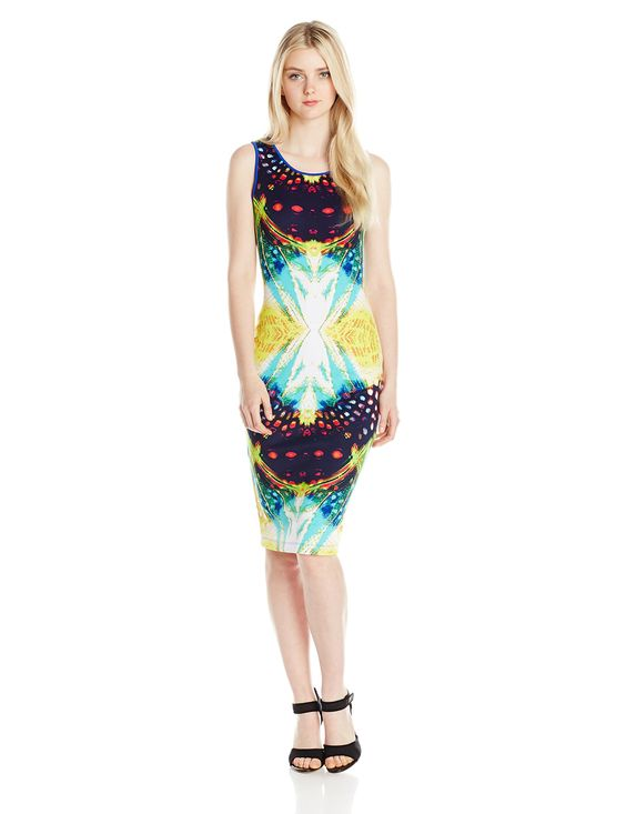 XOXO Junior's Sleeveless Printed Scuba Bodycon Dress, Multi, Small