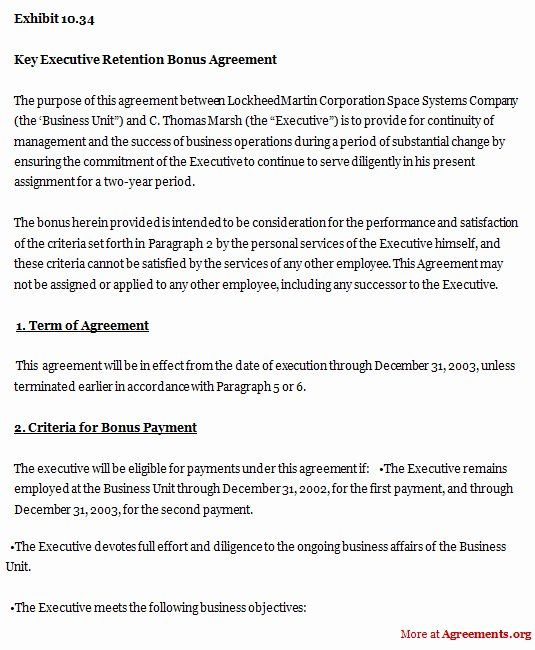 Employee Key Agreement Form New Employee Retention Bonus Agreement