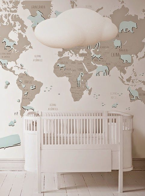 Great design to use with MagScapes magnetic wallpaper and custom magnets. nursery map wall